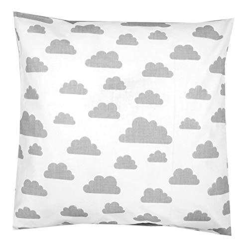 TupTam Kissenhülle Dekorativ Gemustert, Farbe: Weiß Graue Wolken, Größe: 80 x 80 cm