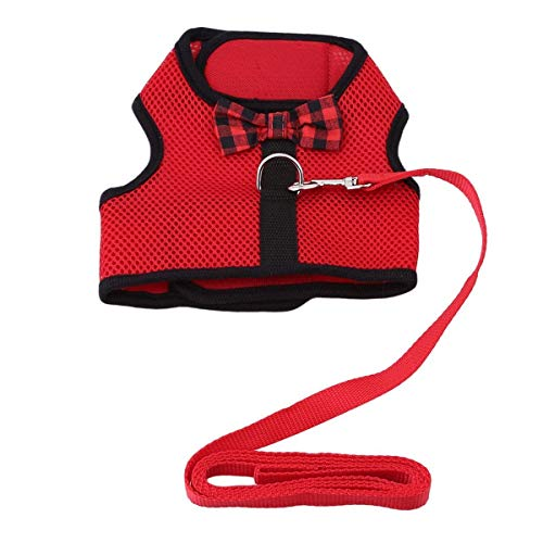 Rabbit Harness with Leash Adjustable Soft Mesh Vest Harness for Bunny Kitten Guinea Pig Rat (M, Red)