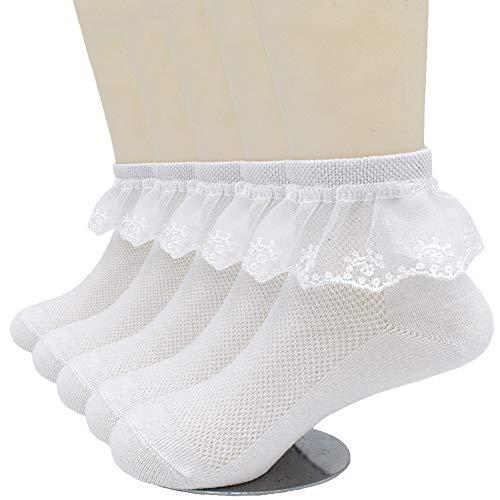 CeeDeek Lace Socks for Girls Socks Dress Socks White Princess Socks Packs of 5(L(7-11y), White)