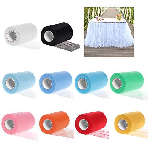 ZJW Tulle Rotolo, 10 Colori Nastro Tulle, Tulle per Matrimonio Decorativo, Decorazioni Fai da Te Bomboniere