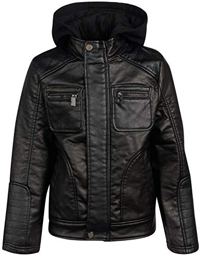 Urban Republic Boys Faux Leather Jacket with Fleece Hoodie (14/16, Black w Hood)