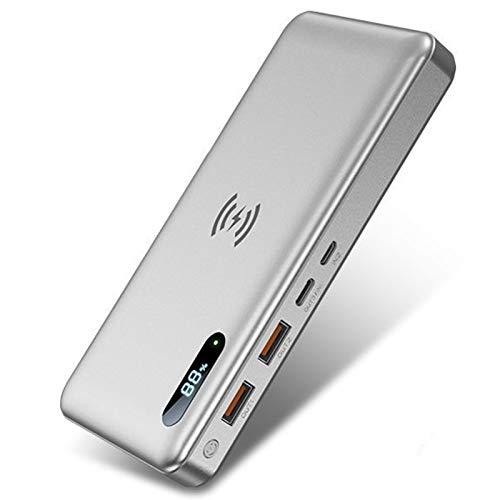 AP.DISHU Batería Externa Inalambrica, 50000mAh Power Bank con 15W Carga Inalambrica & 22.5W Bidireccional Carga Rápida, Cargador Portátil con Pantalla LCD Digital para iPhone Android Móviles,Plata
