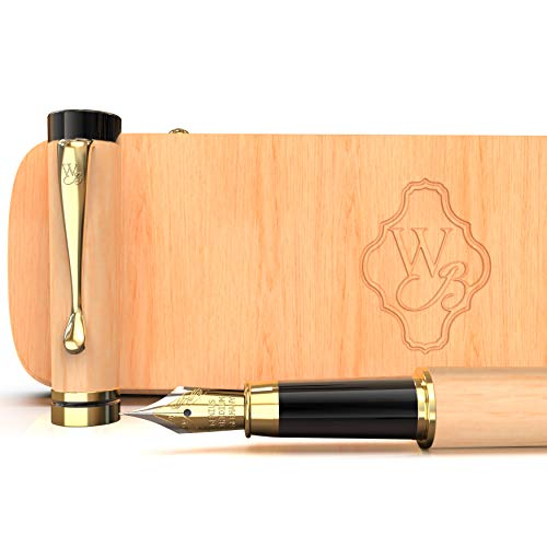 Wordsworth & Black's Fountain Pen Set, Luxury Bamboo Wood - Medium Nib; Gift Case; Includes 6 Ink Cartridges, Ink Refill Converter -Journaling, Calligraphy; Drawing, Smooth Writing [Maple Wood]