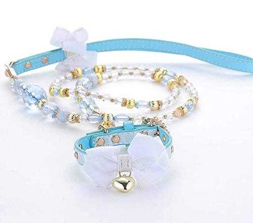 Süße Blau Hundeleine und Halsband Set für Welpen, Kleine Hunde und Katzen Tierleine Hundeführleine Prinzessin Hundehalsband Verstellbares Katzen-Halsband mit Bogenknoten (S)