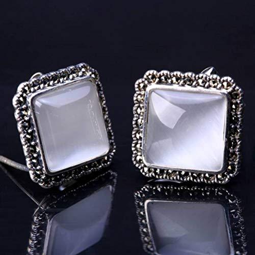 LOt Pendiente de Gota para el Oído S925 Plata Esterlina Pendientes de Botón de Diamante de Calcedonia Femenina de Plata TailandesaÁgata blanca, Plata 925