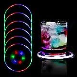 MEDOYOH 6 posavasos iluminados de colores para bebidas, ON/OFF, posavasos LED para cerveza, cócteles, impermeables y acrílicos para fiestas, bodas, bares y Navidad