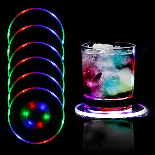 MEDOYOH 6 Stück Bunt LED Leuchtuntersetzer für Gläser, EIN/AUS Einweg Gläser Untersetzer Set, wasserdichte Leuchtuntersetzer für Flaschen, Acryl-Untersetzer Rund für Partys Hochzeiten Bar Weihnachten