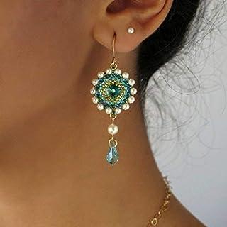 Handmade Swarovski Turquoise Crystal Goldfilled Long Drop Earrings