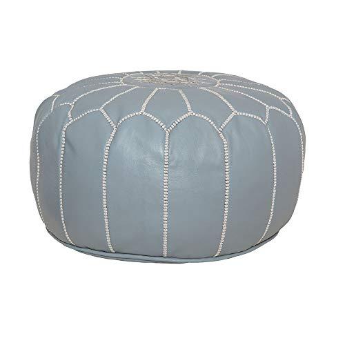 Marokkanischer Leder-Sitzsack, - grau/blau - Größe: Einheitsgröße