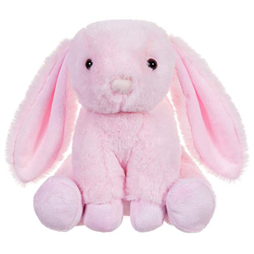charaHOME Stuffed Rabbit Plush Stuffed Bunny with Floppy Ears Sitting Lovely Bunny Rabbit Stuffed Animal, Soft Cuddly, Perfect for Girls Boys Newborn, Pink, 8''