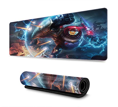 Professional Gaming Mouse Pad for League Legends Thick Large (29.5×15.7 Inch) LOL Office Mouse Pad with Non-Slip Rubber Base Waterproof(Champion Blitzcrank Riot)