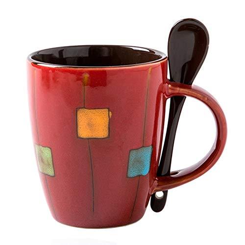 Taza de café cuadrada pintada a mano con forma de tambor y cuchara, taza de té de oficina para café con leche, té capuchino – moderno contemporáneo Art Deco (rojo)