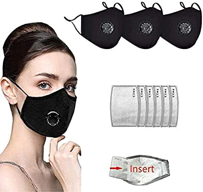 Adults Face Bandanas with Breathing Valve Activated Carbon Filter Replaceable, Haze Dust (3pcs 6 Filter) (Black)