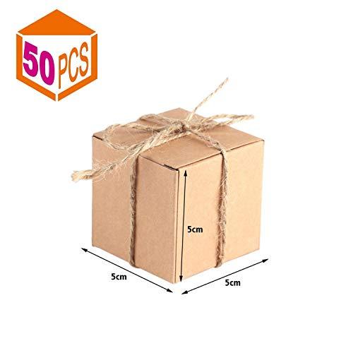 50 stks mini vierkante gunst box kit, 5x5x5 cm bonbondoos bakkerij dozen kartonnen geschenkdozen, mini koffer vintage kraftpapier met jute koord voor bruiloft decoratie