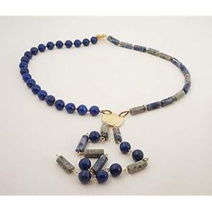 handgefertigte lange blaue y Kette aus Lapislazuli und Sodalith Edelstein, Einzelstück