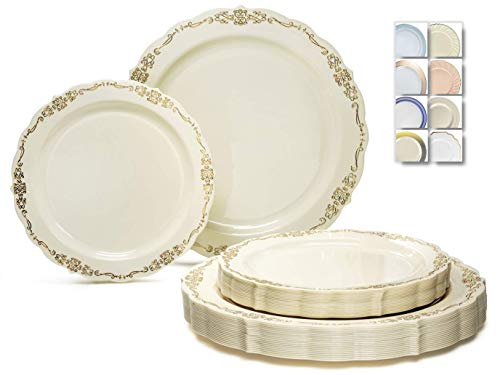 ' OCCASIONS ' 240 Plates Pack,(120 Guests) Vintage Wedding Party Disposable Plastic Plates Set -120 x 10'' Dinner + 120 x 7.5'' Salad / Dessert (Verona in Ivory Gold)