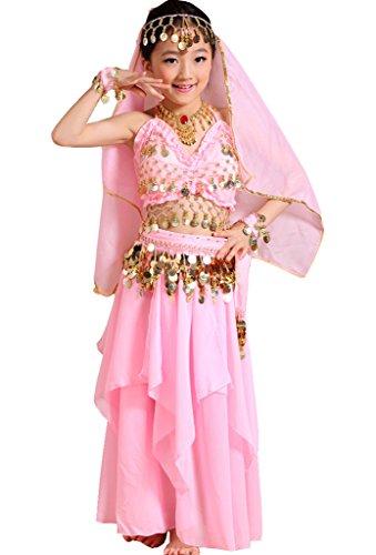 Astage Mädchen Kleid Kinder Bauchtanz Halloween Karneval Kostüm, Pink, S Fits 6-9 years