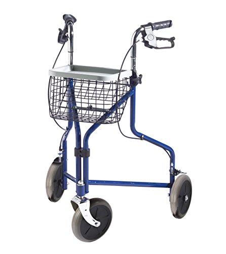 FabaCare Rollator Premium 3-Rad-Rollator, Gehhilfe blau, Korb, Tablett, Feststellbremsen, Höhe verstellbar, Heimrollator mit 3 Rädern, bis 110 kg