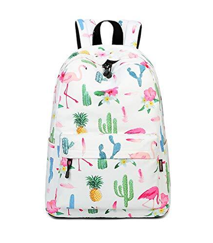 Joymoze Wasserdicht Süß Schule Rucksack für Jungen und Mädchen Leicht Schick Bedruckt Bücher Tasche Flamingo