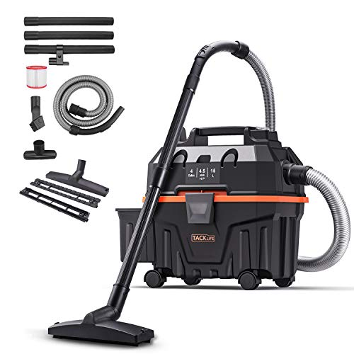 TACKLIFE Wet Dry Vac, 4.5 Peak Hp Wet Dry Vacuum 4 Gallon, Wet/Dry Suction, Blow 3 in 1 Function Portable Shop Vacuum, Suitable for Indoor and Outdoor - PVC01B
