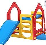 Box con altalene e scivoli, giardino giochi per bambini con una sandbox e arrampicata bordo della scala,Red