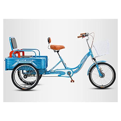 MQJ Bicicletas de tres ruedas de 20 pulgadas para adultos mayores y mujeres, triciclo, diseño plegable trike y carga doble modelight triciclo de tres ruedas para bicicleta de hombre, azul