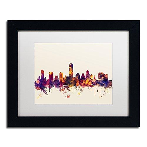 Austin Texas Skyline by Michael Tompsett, White Matte, Black Frame 11x14-Inch
