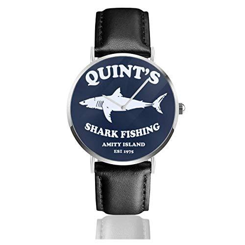 Unisex Business Casual Quints Pesca de Tiburones Amity Island Jaws Relojes Reloj de Cuero de Cuarzo