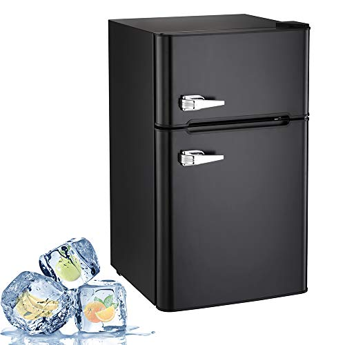 Joy Pebble Compact Double Door Refrigerator and Freezer, 3.2 cu.ft Freestanding mini Fridge Suitable for Office, Dorm or Apartment with Adjustable Removable Glass Shelves (black)