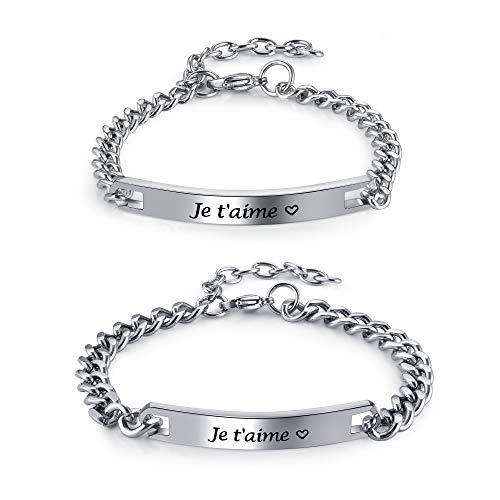 PiercingJak 2PCS Bracelets Couple Amoureux Gourmette Personnalisé Gravé Je t'aime Acier Inoxydable Chaînes de Main Lien Poignet Cadeau Amour La Saint-Valentin Femme Homme(je t'aime)