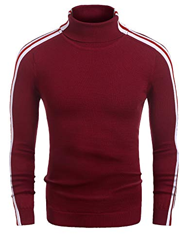 COOFANDY Men's Casual Slim Fit Turtleneck Sweater Thermal Knitted Striped Sweater