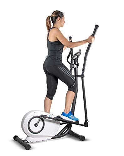 Sparraw Fitnes - Bicicleta Eliptica compacta E-Bike – Rueda inercia 5 kg – 8 Niveles de Resistencia – Sensores de pulsaciones cardiacas – Pantalla de Entrenamiento