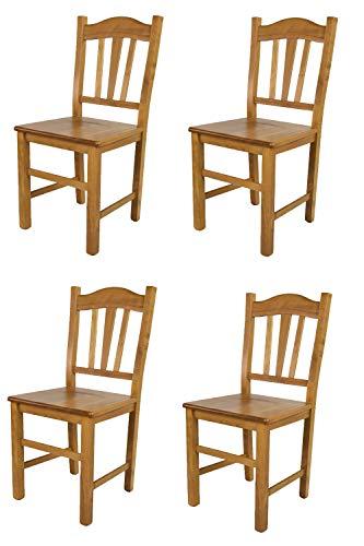 Tommychairs - Set 4 sillas Silvana para Cocina y Comedor, Estructura en Madera de Haya Color Roble y Asiento en Madera