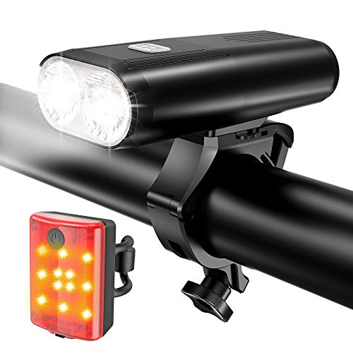 Bike Lights, Super Bright USB Rechargeable Bicycle Front Headlight and Back Taillight, 4 Light Modes, Easy to Install, Waterproof Fits All Bicycles, Mountain, Road