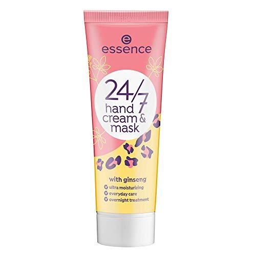 essence 24/7 hand cream & mask, Nail Care, Nagelpflege, weiss, pflegend, glättend, ohne Aceton, vegan, Mikroplastik Partikel frei (75ml)