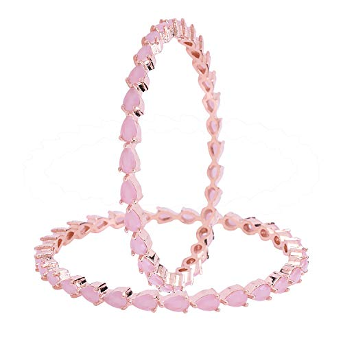 Ratnavali Jewels CZ Zirkonia Rose Gold Ton Rosa Birne Diamant Indische Bollywood Armreifen Armband Schmuck Frauen