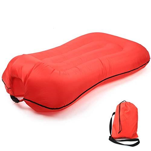 Sofá de aire plegable saco de dormir de un solo puerto perezoso sofá cama inflable anfibio saco de dormir al aire libre camping playa accesorio de viaje rojo