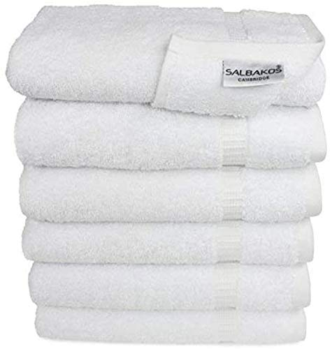 SALBAKOS Cambridge Hand Towels for Bathroom - Bulk Pack Turkish Cotton - Luxury Hotel & Spa Quality, 700gsm Organic… (Hand Towel - Qty 96, White)