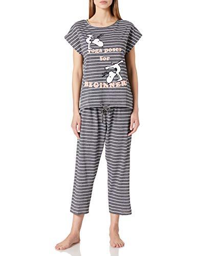 Women' Secret Pijama Rayas Estampado Snoopy, Gris Oscuro, M para Mujer
