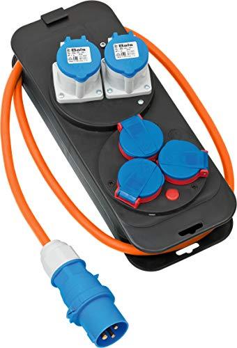 Brennenstuhl 1151600030 230 V-Distribuidor de corriente (2 CEE, 3 enchufes con protección de contacto, cable H07RN-F 3G2,5 de 1,5 m, color, ideal para camping, fabricado en Alemania), naranja/negro