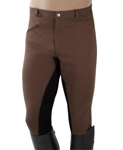 Pfiff - Pantaloni da Equitazione con Rinforzo Integrale, da Uomo, Marrone (Marrone-Nero), 48