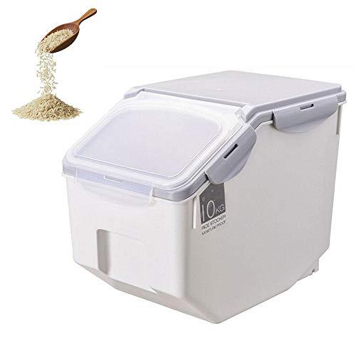 Volwco Reisbehälter, Aufbewahrungsbox, Reisbehälter, 10 kg, feuchtigkeitsbeständig, ideal für die Aufbewahrung von Reis, Mehl, Trockenfutter, Tierfutter und mehr, grau, 22lbs (Grau, 22 Pfund)