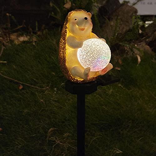 POHOVE Luces solares de erizo de jardín con bola redonda LED erizo luces solares de erizo con 7 colores que cambian la lámpara solar de erizo para jardín, patio y patio