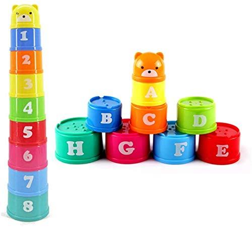 Juguetes Infantil Educación Temprana Apilable Taza Bebé Intelectual Número Letras Apilables Juego de Taza - Para Regalo Niño JXNB