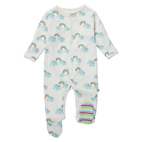 Piccalilly Organic Cotton Unisex Multicoloured Rainbow Elephant Footed Sleepsuit