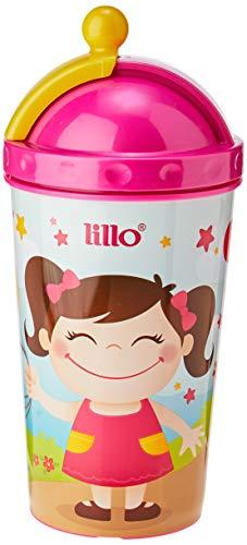 Copo Com Canudo Retrátil - Lillo, Rosa, 450 ml