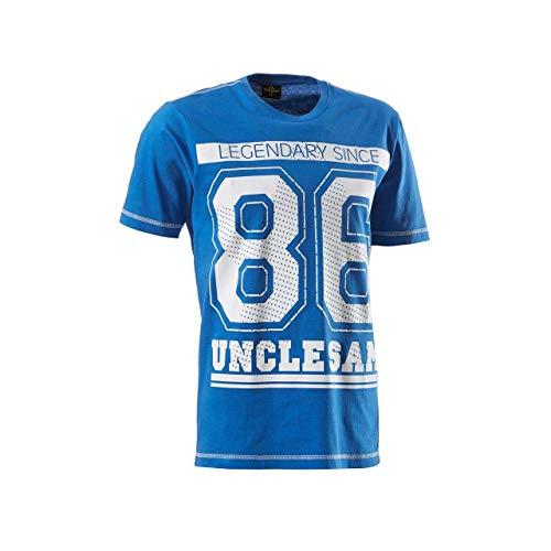 Uncle Sam T-Shirt Nostalgie | Eroded Print | Aufdruck 86 (M, Blau)