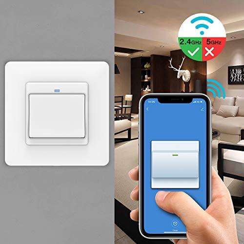 MoKo WiFi WLAN Smart Lichtschalter, 1 Gang Tastschalter Wandschalter Schalter Fernbedienung, APP- und Sprachsteuerung, Kompatibel mit Alexa Echo Google Home, ohne Hub Benötig - 1 Pack