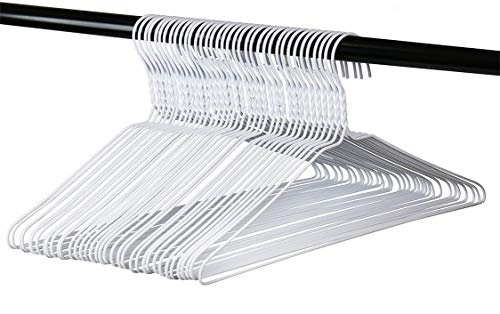 Long Lasting Vinyl Coated Wire Metal Hangers White Standard Adult Size Pack of 36 Made in The USA