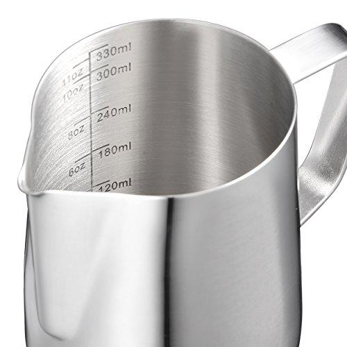 Harima - 350 ml Bricco graduato per latte, in acciaio inox, con scala graduata